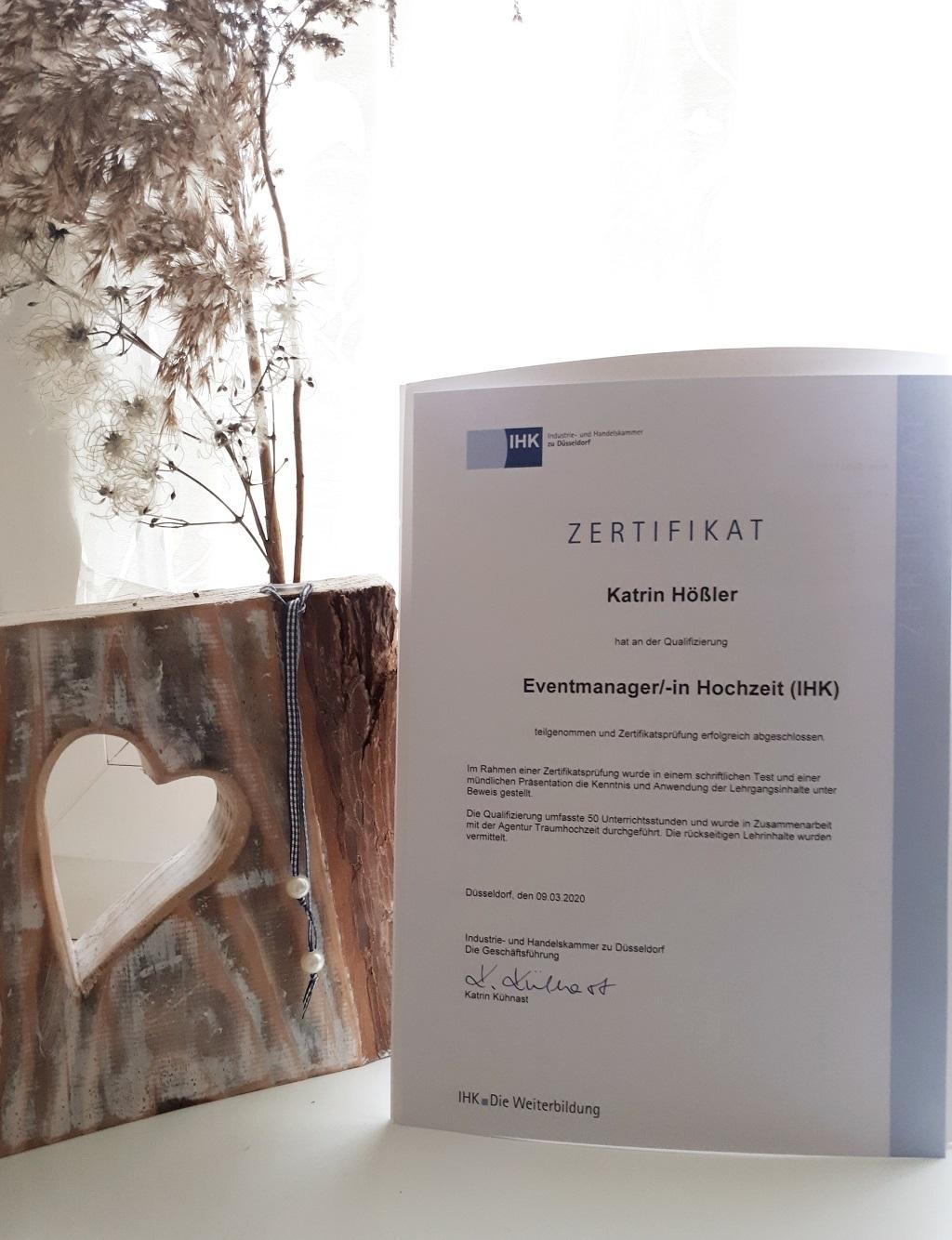 IHK Zertifikat Eventmanager Hochzeit