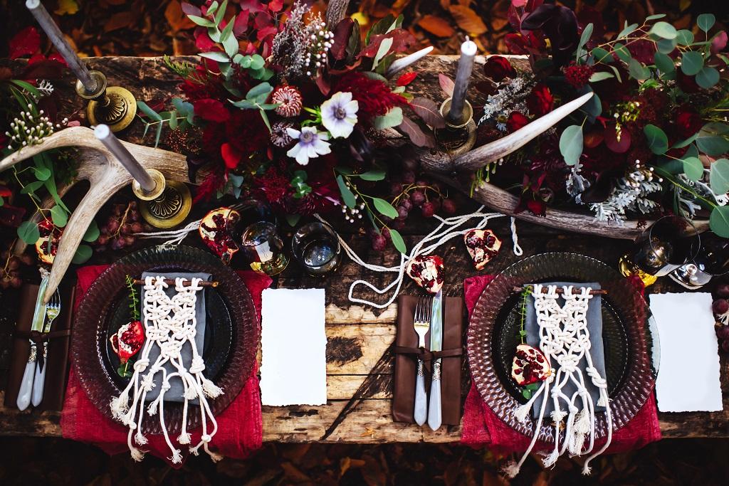 Teilplanung Boho Hochzeit Tischdekoration Herbst